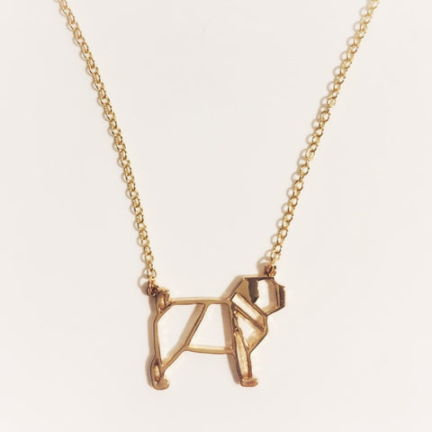 Gold Pug Outline Necklace