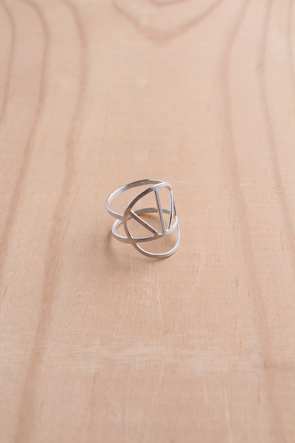 Ring sunshine sunset sterling silver statement cage ring lines wire