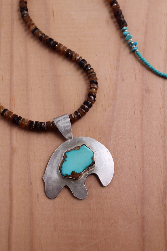 bear oso shell cabachon Silver sterling silver moon ring necklace handmade crystal point turquoise made beads naja native American jewelry healing power labradorite pendant