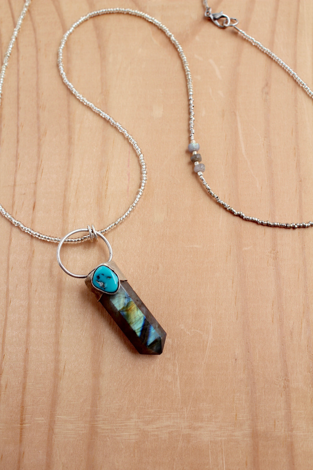 crystal point turquoise necklace handmade station 19 silver handmade crystal beads
