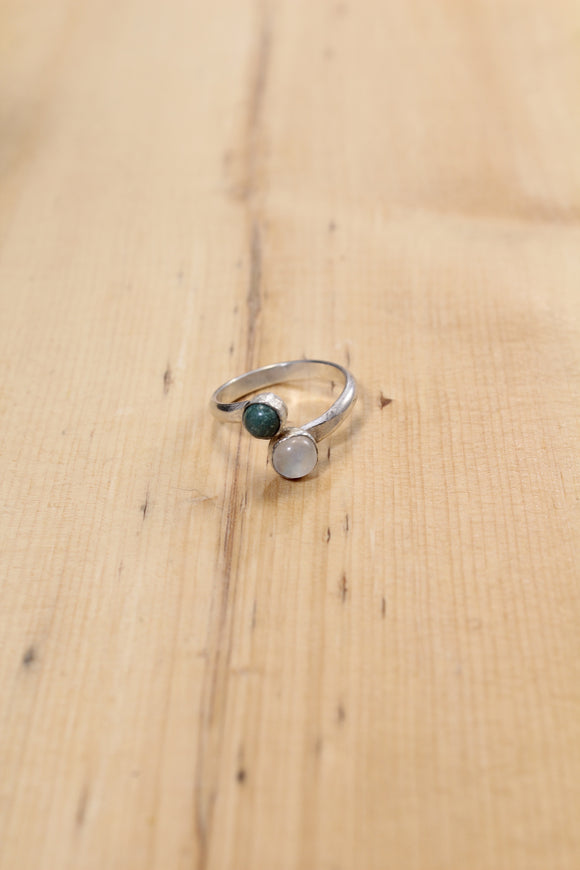 Turquoise and Moonstone Wrap Ring