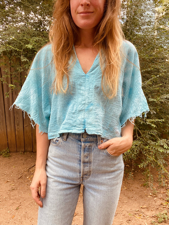 Alliene Boxy Top- Turquoise