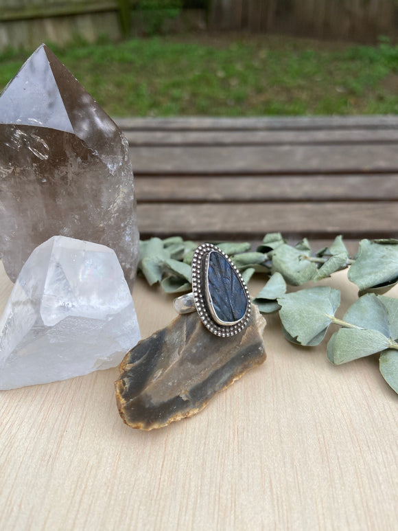 Labradorite Leaf Ring