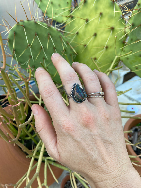Chrysocolla Drop Ring