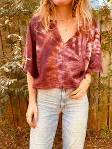Alliene Boxy Top- Oxblood Swirl