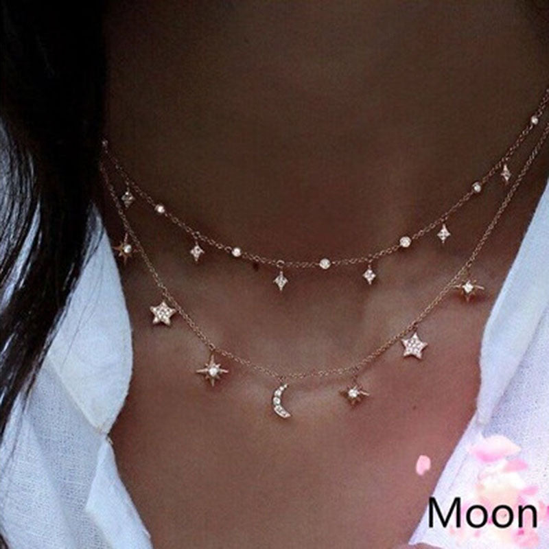 Gold Necklace For Women Moon Star Pendant