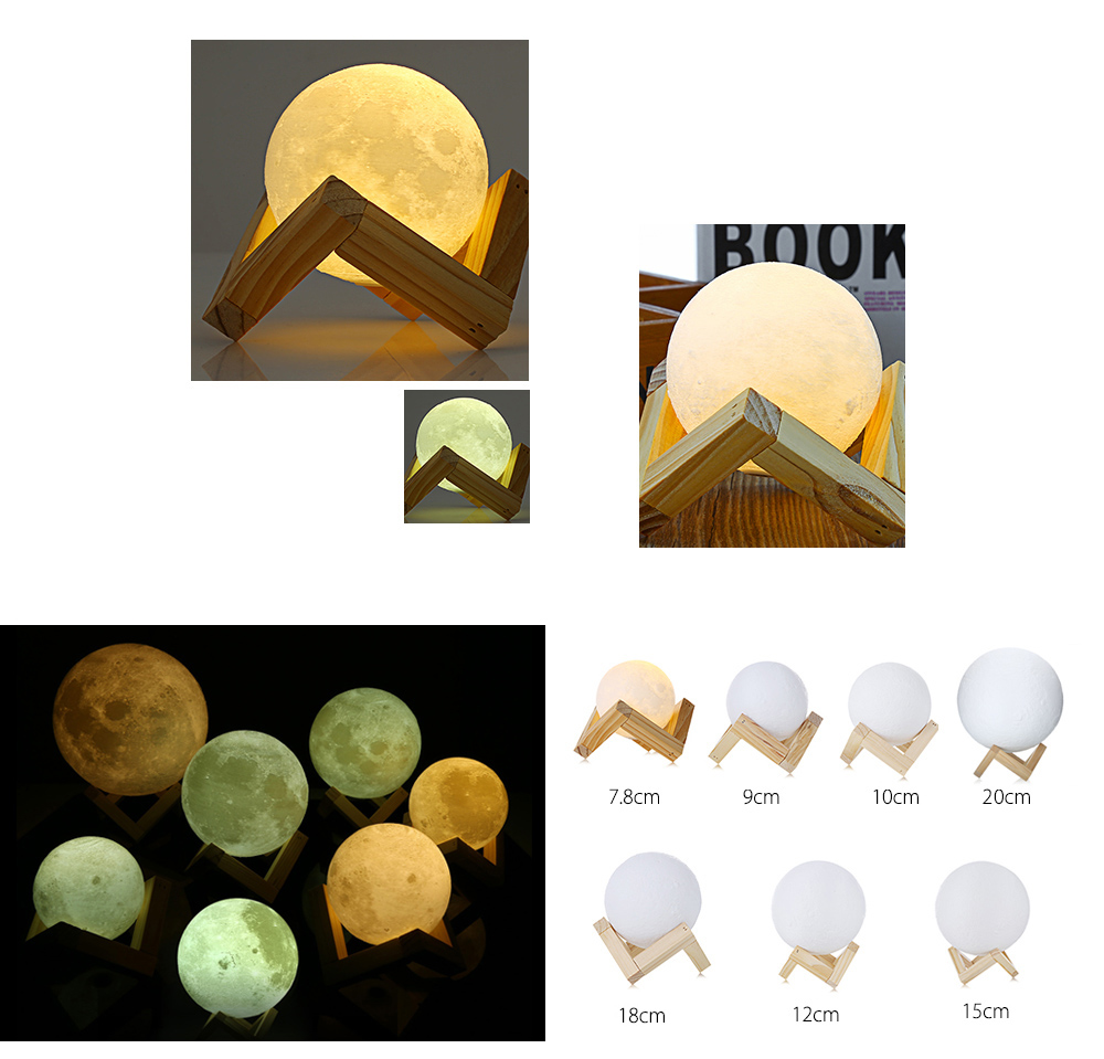 3D Print Moon Night Light Dimmable LED Night Light Changes Color