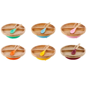 Avanchy Bamboo Toddler Plates + Spoon