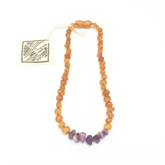 CanyonLeaf Raw Baltic Amber + Raw Gemstone Necklace - 13 inches