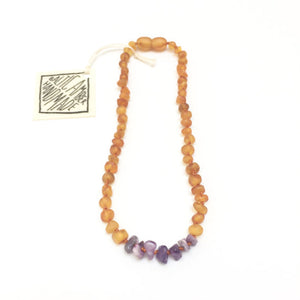 CanyonLeaf Raw Baltic Amber + Raw Gemstone Necklace - 11 inches
