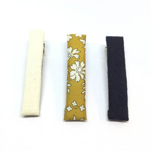 The Tiny Bow Shop Cream, Mustard, Black Linen Clip Set