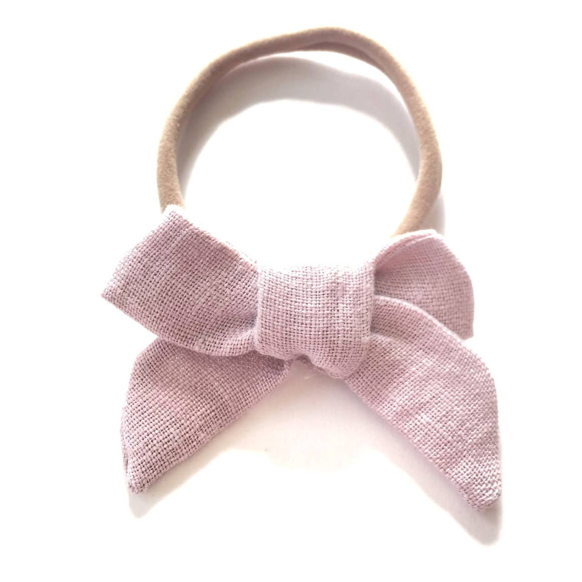 The Tiny Bow Shop Dusty Pink Organic Linen Headband