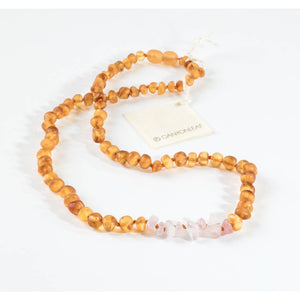 CanyonLeaf Raw Baltic Amber + Raw Gemstone Necklace - 21 inches