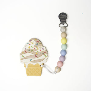 Loulou Lollipop Chocolate Ice Cream Teether with Pacifier Clip - Cotton Candy