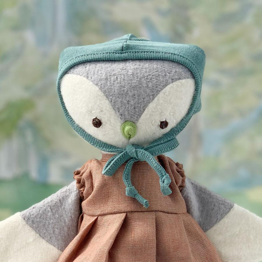 Lucy Owl in Clay Linen Dress and Bonnet