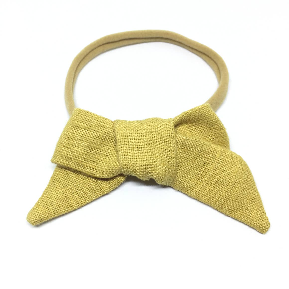 The Tiny Bow Shop Mustard Organic Linen Headband