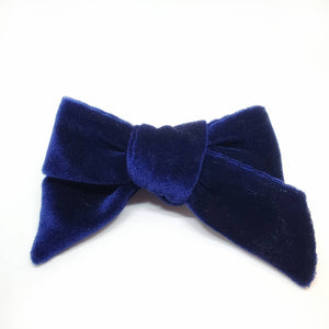 The Tiny Bow Shop Navy Velvet Modern Headband