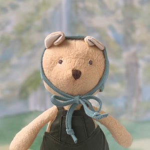 Nicholas Bear in Picnic Overalls and Bonnet