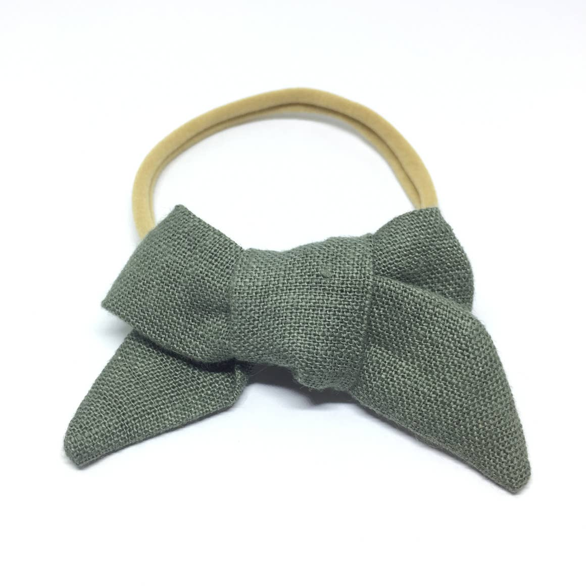 The Tiny Bow Shop Olive Organic Linen Headband