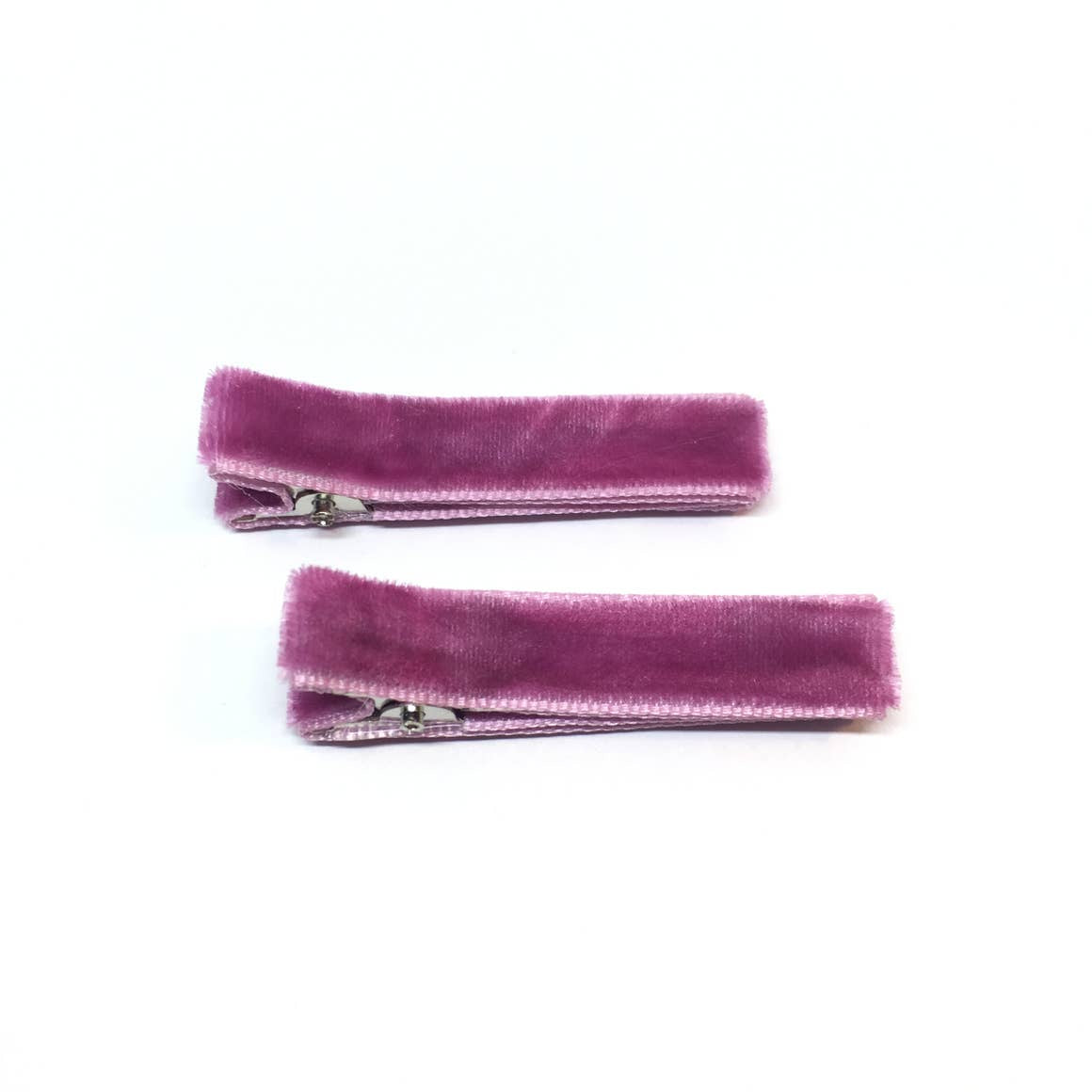 The Tiny Bow Shop Raspberry Velvet Hair Clips