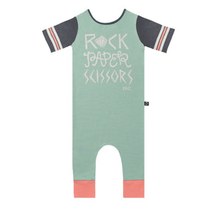 Retro Short Sleeve Rag - 'Rock Paper Scissors' - Granite Green