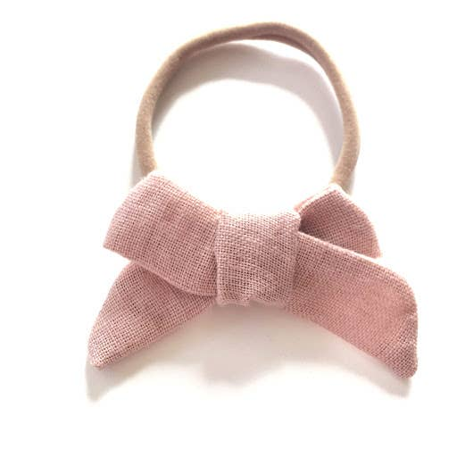 The Tiny Bow Shop Salmon Pink Organic Linen Headband