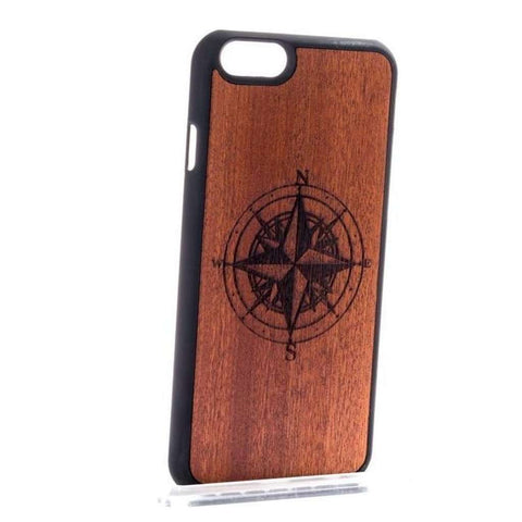 Handcrafted Mahogany Wood Compass iPhone and Samsung Case-Case Emporium NZ