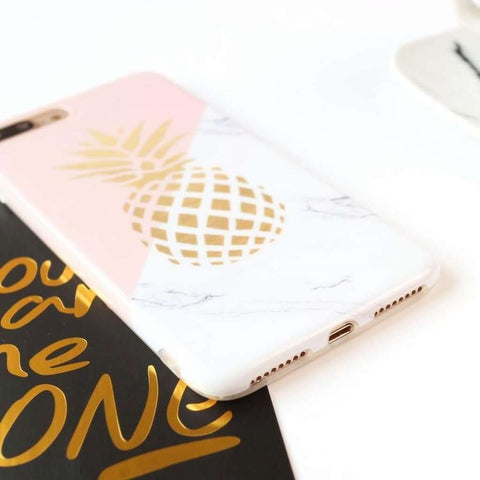 Marble and Gold Pineapple iPhone Case-Case Emporium NZ