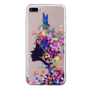 Phone Cover Transparent TPU Case Flower Girl Pattern Soft Protector Shell for iPhone