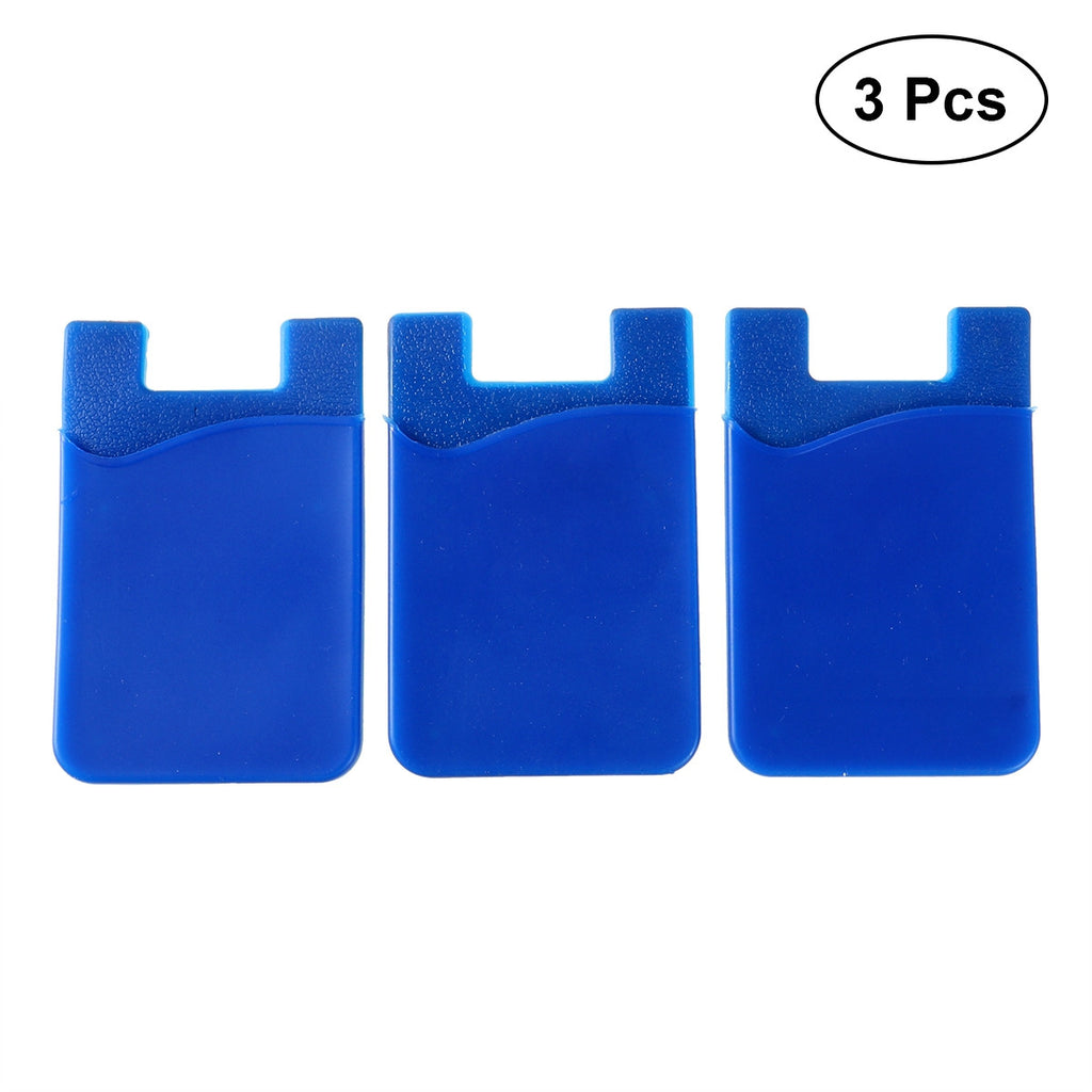 3pcs Adhesive Silicone Card Holder Wallet
