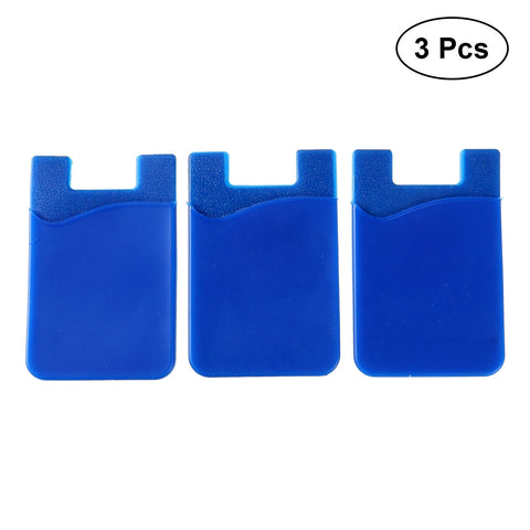 Image of 3pcs Adhesive Silicone Card Holder Wallet