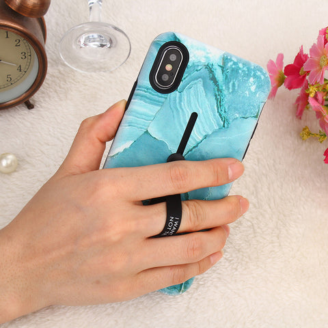 Image of Shiny Marble Phone Case with Kickstand and Rubber Strap