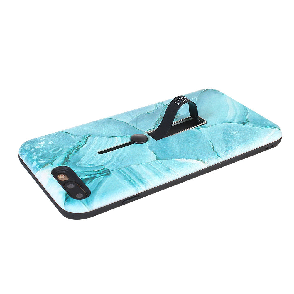 Shiny Marble Phone Case with Kickstand and Rubber Strap
