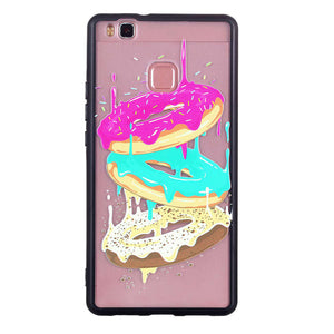Phone Cover TPU Case Three-color Doughnut Pattern Embossment Design Soft Droproof Protector Shell for Huawei