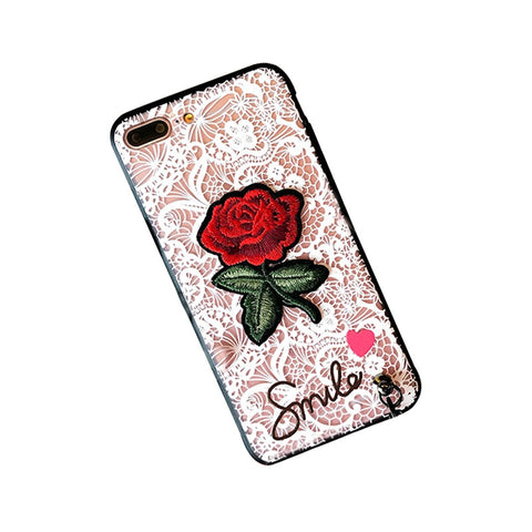 Embroidered Fashion Cell Phone Case for iPhone 8 Plus/ iPhone 7 Plus (White Lace and Rose)