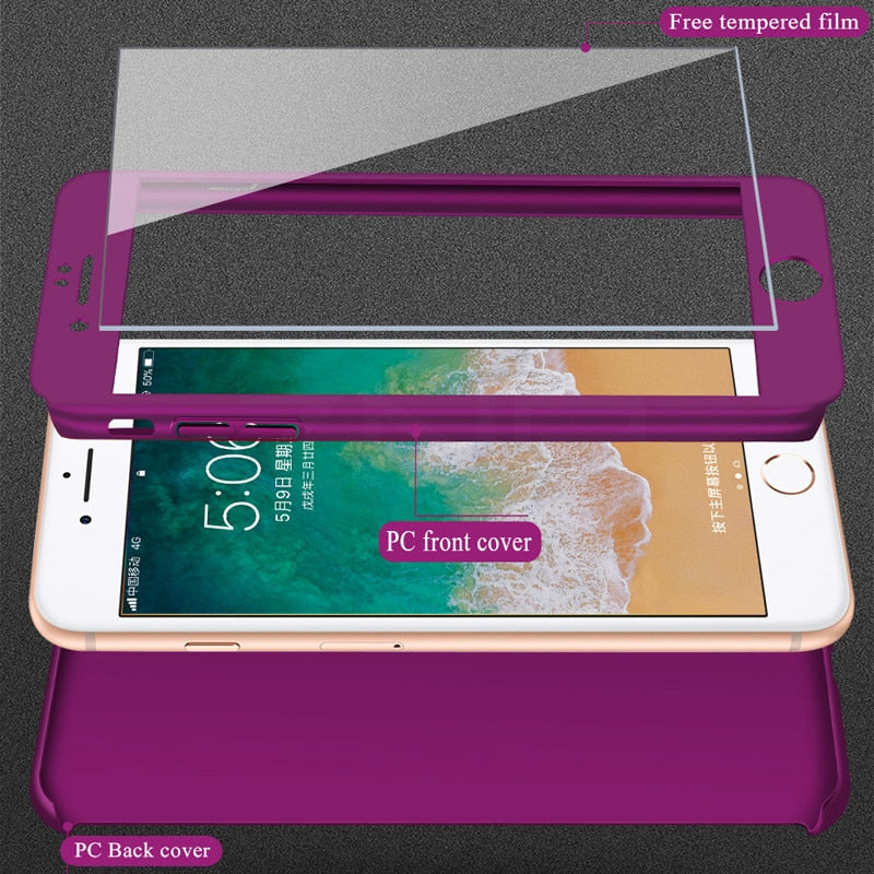 3 in 1 Ultra Thin Matte 360 degree protection iPhone Case (With Screen Protector)