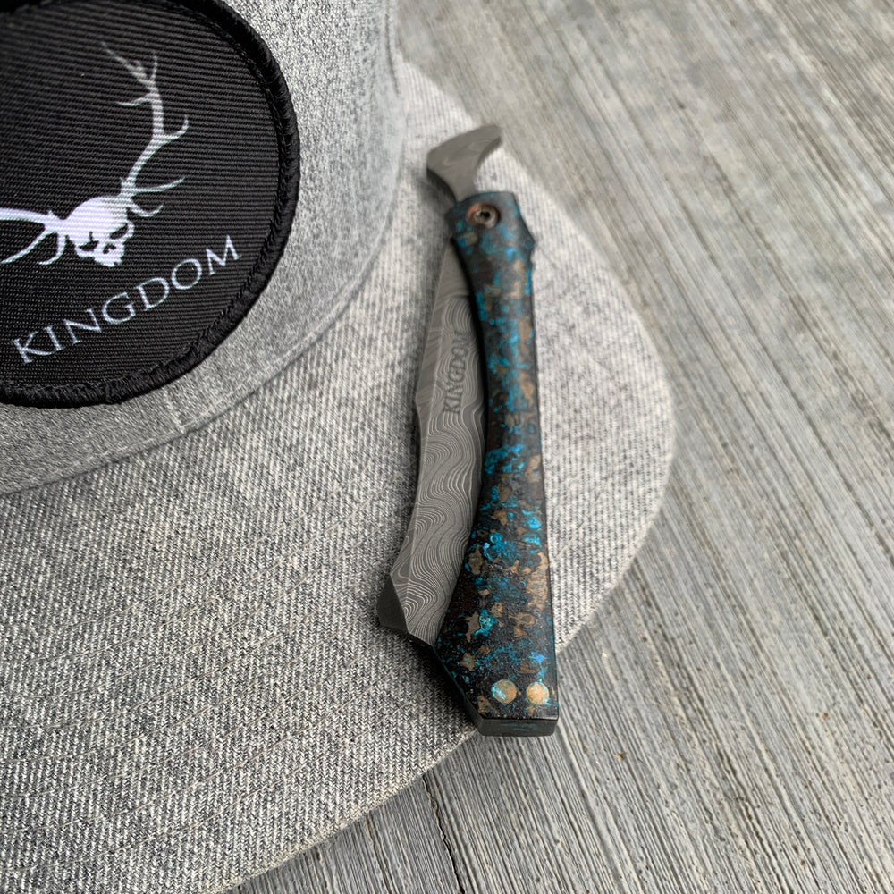 KA Custom Damascus Copper Barker-the Butcher's Razor
