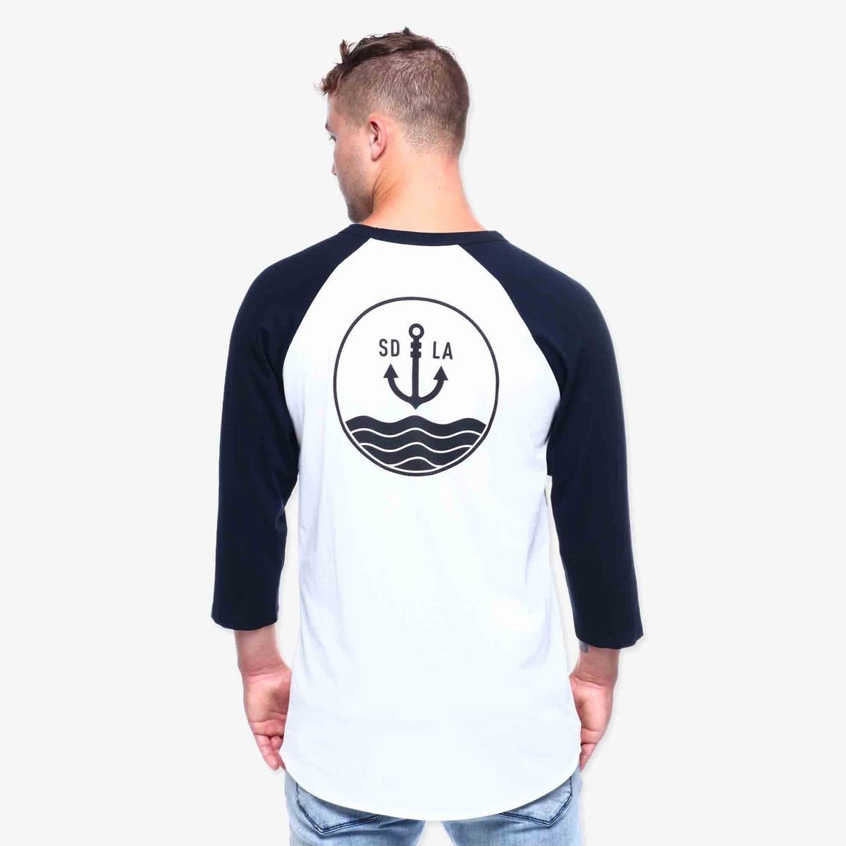 Anchor 3/4 Sleeve Tee - White & Navy