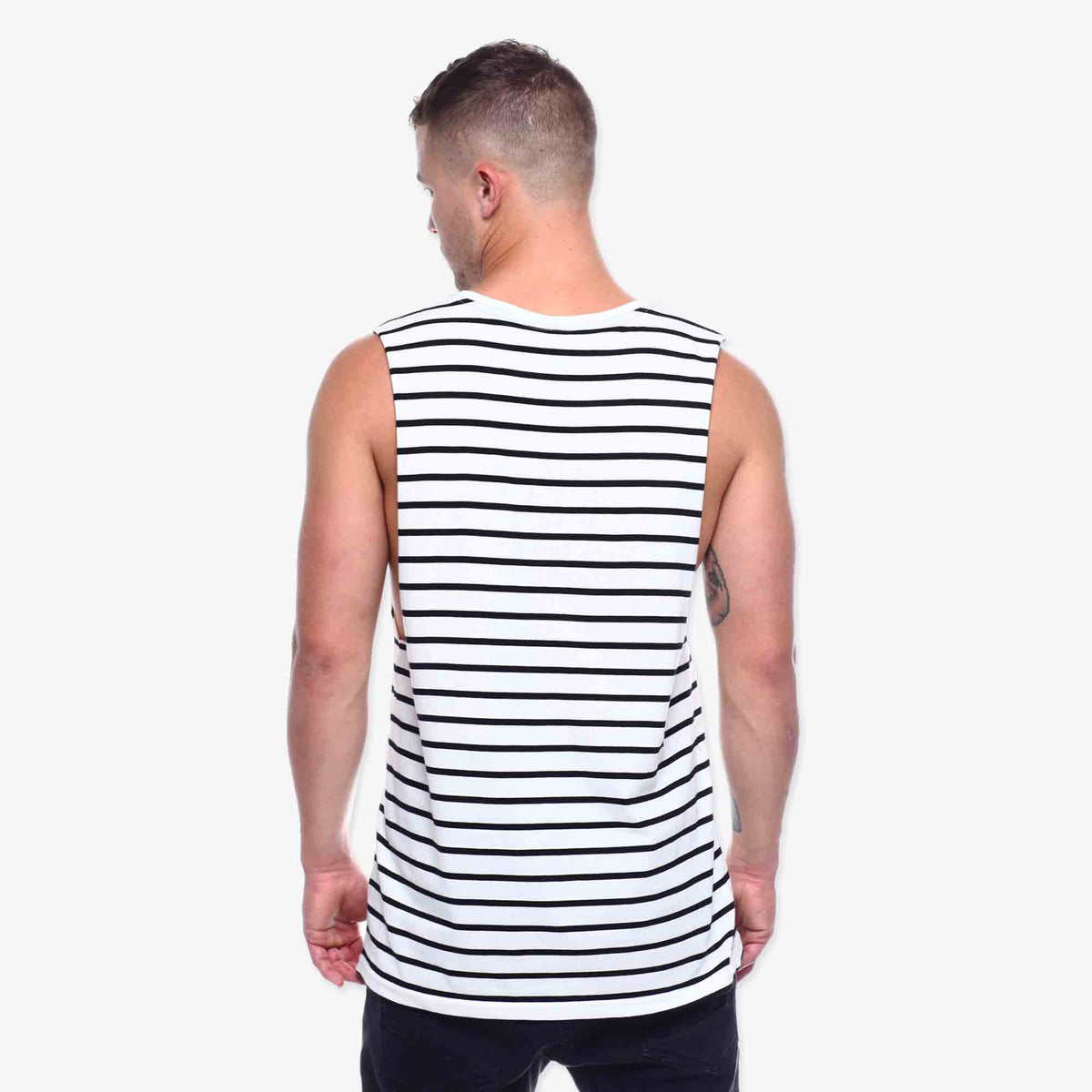 Pennant Muscle Tank - Natural Stripe