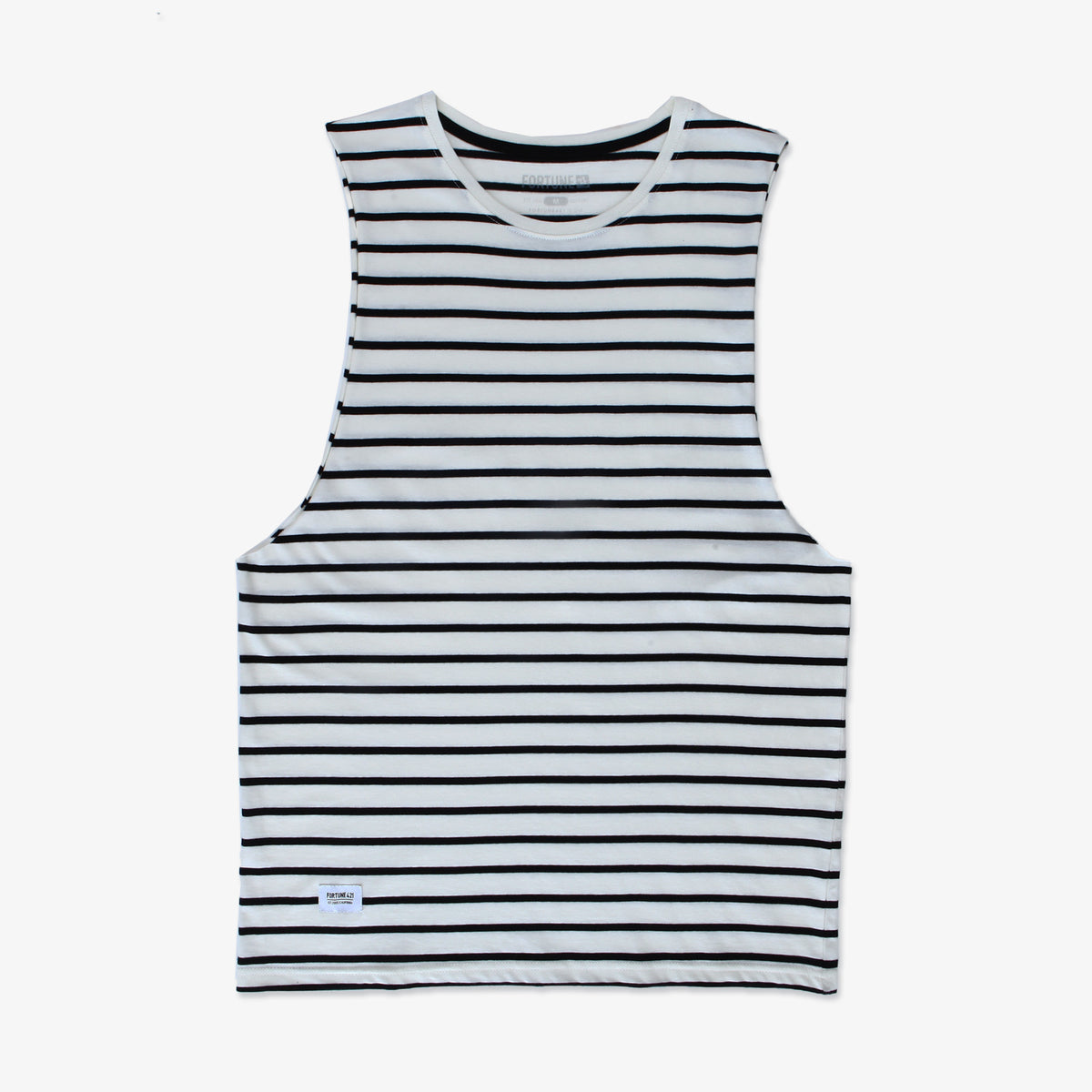 Pennant Stripe Muscle Tank - Natural & Black