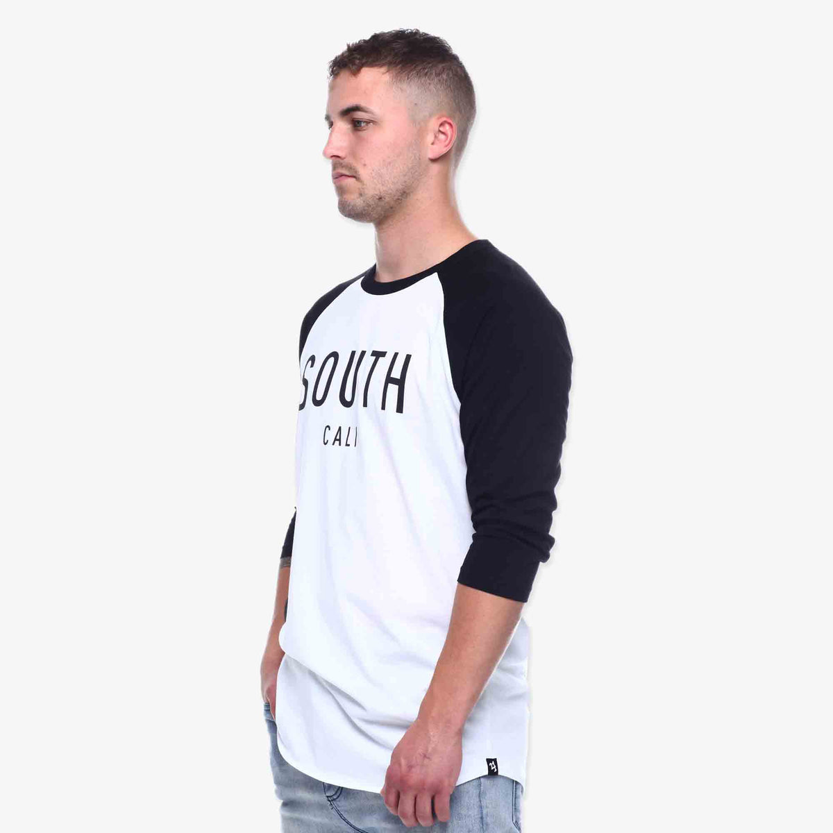 South Cali 3/4 Sleeve Tee - White & Black