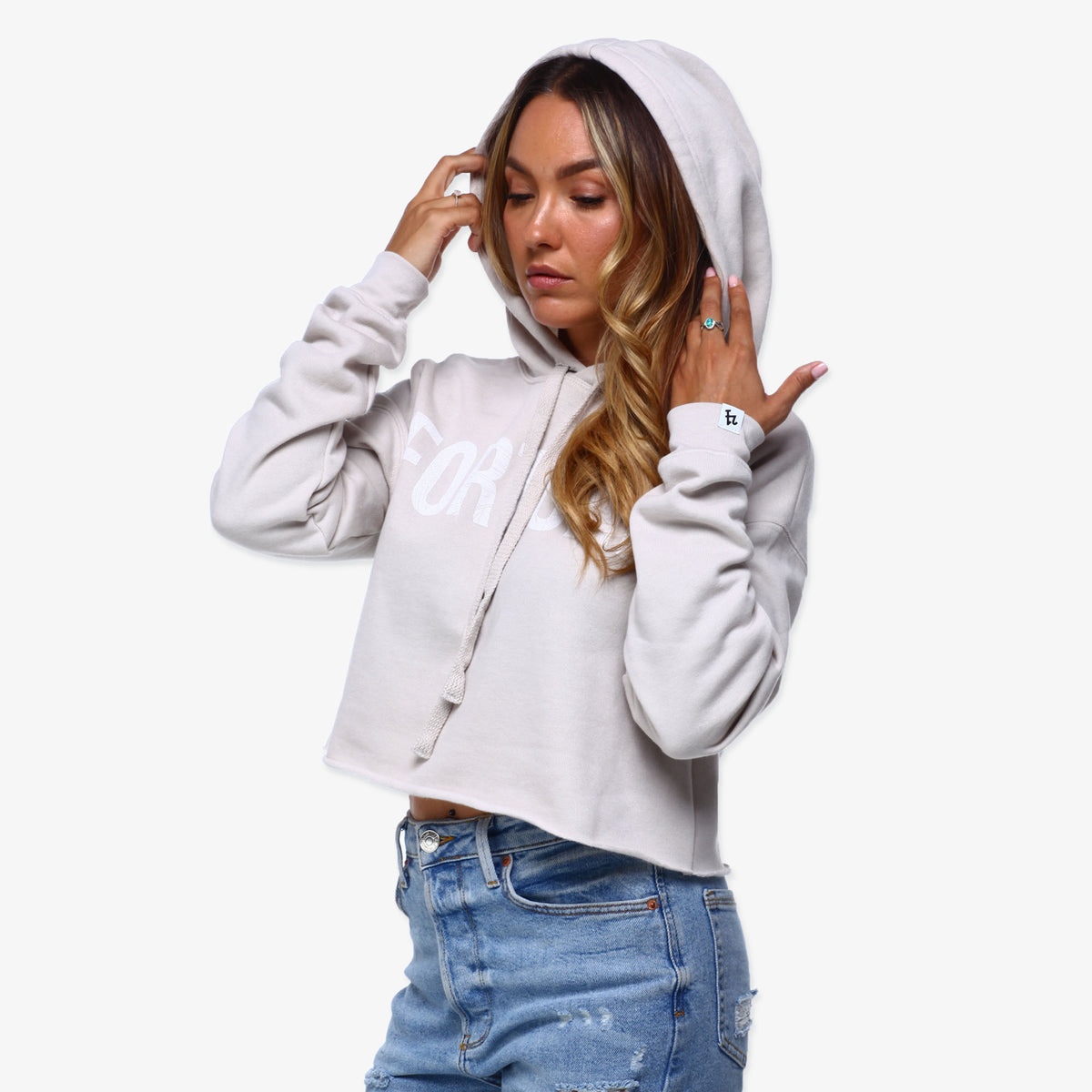 Fortune Cropped Hoodie - Sand