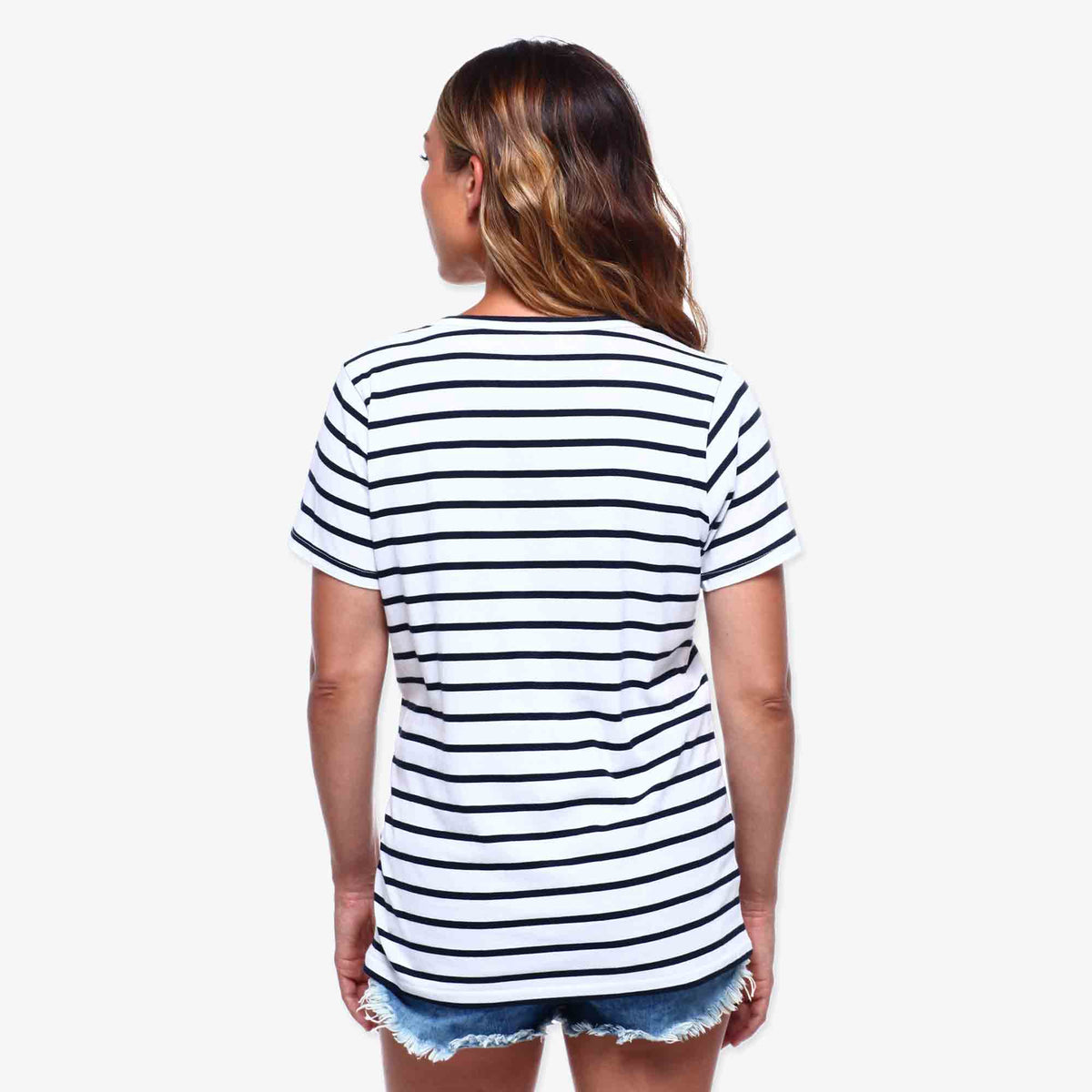 Mariner Stripe Tee - White & Navy