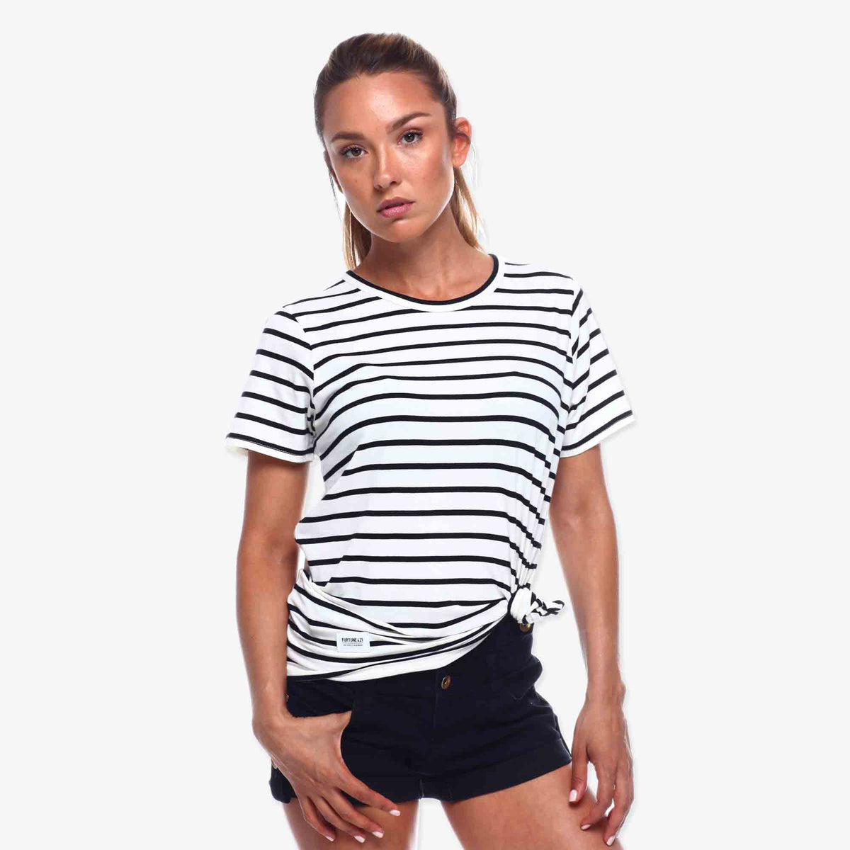 Pennant Stripe Tee - Natural & Black
