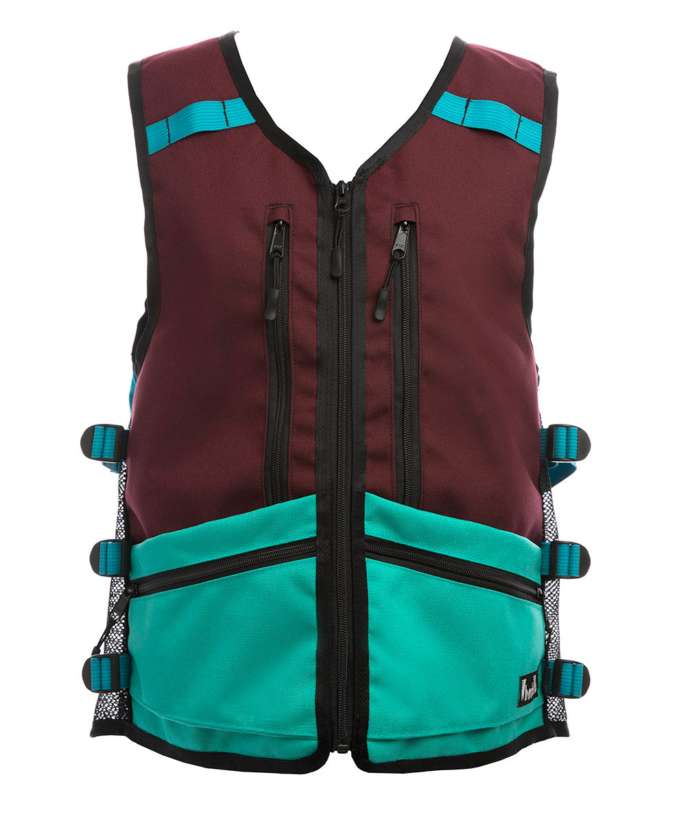 Side Hustle WhatVest - Maroon/Turquoise - Ski Snowboard Utility Vest, backcountry skiing, top ski apparel 2021,  women 's snowboard vest, backcountry utility vest, avalanche vest, snowmobile, sled neck vest, beacon, shovel probe, safety vest