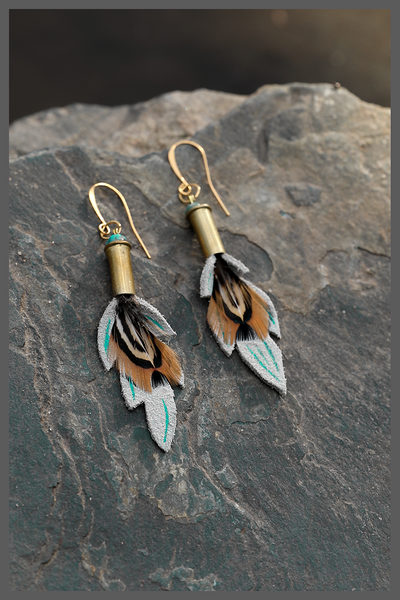 buckskin leather earrings, turquoise, 22 bullet shell earrings, western earrings, Rocky Mountain style earrings, easy gift for girlfriend, easy gift for sister, easy gift for wife, light earring, rodeo earrings, feather earrings, Wyoming designer, Wyoming made, handmade, gift for bridesmaids, western wedding