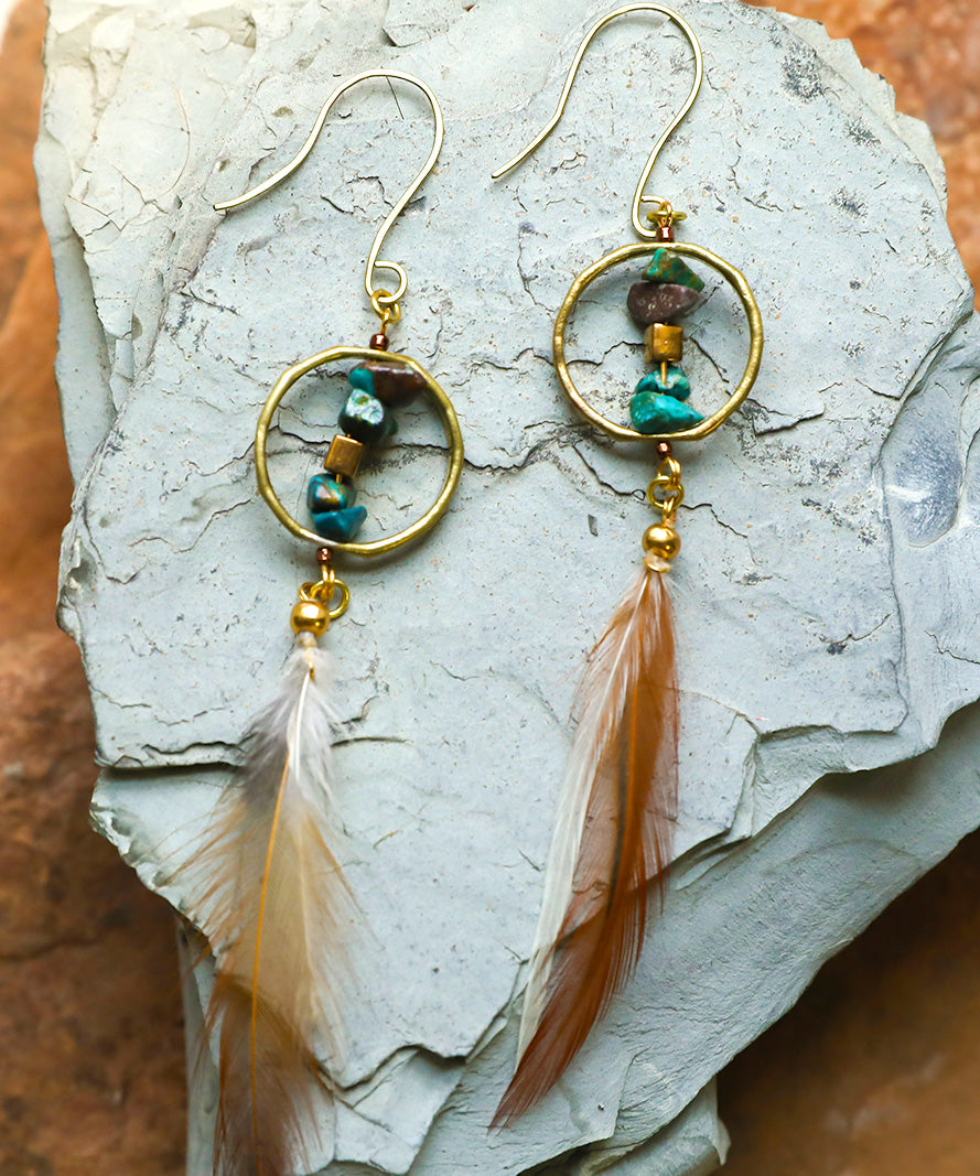 Mountain Pose Earring, hand metalsmithed bronze hoops, genuine turquoise stones, feathers, nadia, Laramie, unique earrings, boho chic, bohemian earrings