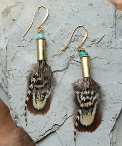 Pheasant Hunt - feather earrings, genuine turquoise, bronze bullets, rooster feathers, unique earrings, boho earrings, bohemian earrings, rustic earrings, mountain girl earrings, Free People style, gypsy, eclectic, whimsical, music festival earrings