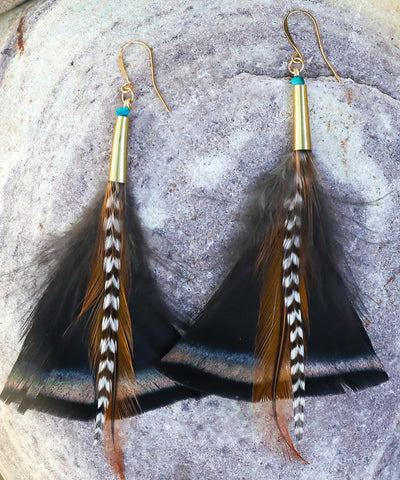 wild turkey feather earrings, boho earrings, music festival earrings, EDM festival earrings, burning man earrings, burner earrings, gypsy earrings