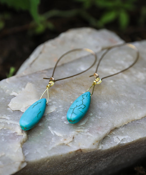 Turquoise Drop earring, simple, beautiful, 22K gold filled hook, bohemian, mountain, skier, river, biker, climber, unique, Rocky Mountains, Jackson Hole, Steamboat, Colorado, handmade, handcrafted, locally sourced, boho, earthy, yoga, flirty, gift for her, gift for girlfriend, bridesmaid gift, Taylor Kany-Flores, Nadia Kaliszewski, Laramie, Wyoming